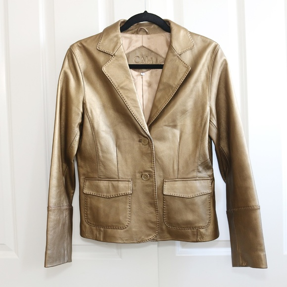 5f2319705 CAbi Genuine Leather Jacket Gold Bronze Size 8